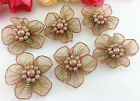 Diy 10-100 Pcs Satin Ribbon Flower With Pearl Wedding Appliquescrafts
