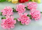 1260120pcs Satin Ribbon Carnation Flower Appliquescraftwedding Decoration