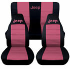1976-2018 Jeep Wrangler Two Tone Seat Covers Canvas Front Rear Choose Color