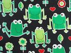 Green Frog On Black Fabric Quilting Sewing Timeless Treasures Bty Bthy Fq