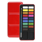 122824color Solid Watercolor Paint Brush Pen Set Tin Box Art Painting Supply