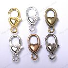 Gold Silver Plated Bronze Copper Shiny Charms Heart Lobster Clasps