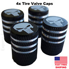 4pcs Punisher Wheel Tire Valve Cap Stem Cover Fits Bike Car Trucks Atv Utv