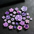 Lavender Purple --- Mixed Lot Clay Flowers Cute Japanese Kawaii Flat Back Resin