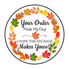 30 1.5 Fall Leaves Wreath Thank You Order Envelope Seals Labels Stickers