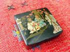 Meiji Style Japanese Black Lacquer Stamp Box   Beautifully Painted Geisha Scene