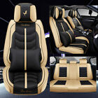 Deluxe Car Seat Covers 5-seats Front Rear Pu Leather Suv Truck Fully Cushions Us