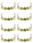 Watercolor Christmas Holly Grapevine Wreath Transfers Waterslide Decals Chr264a