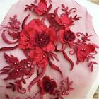 Diy 3d Flower Embroidery Bridal Lace Applique Pearl Beaded Tulle Wedding Dress