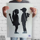 Banksy Boy Girl Baseball Bat Flowers Stencil Replica Graffiti Art Ideal Stencils