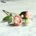4 Heads Peonies Artificial Flowers Pink Silk Roses Bouquet Home Wedding Decor
