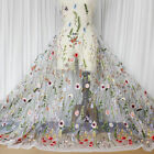 Embroidery Floral Lace Fabric Black Mesh Wedding Dress Cloth 47 Width By Meter