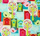Bird Birdhouse Trees Hearts Cotton Quilt Fabric Pink Red Lime Teal White
