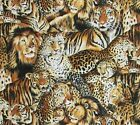 Big Cats Tiger Lion Cheetah Jungle Fever Cotton Fabric By Fabri-quilt