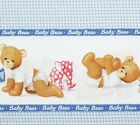 Baby Bear Nursery Blue Gingham Border Cotton Fabric Traditions Patty Reed