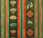 Asian Fanfare Peacock Royal Fans Gold Accent Cotton Fabric Ro Gregg