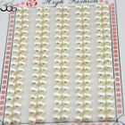 4-12mm Natural 3a Grade White Button Freshwater Pearl Half Drilled Beads 20 Pcs