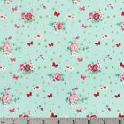 Woodland Rose Shabby Baby Blue Red Pink Cotton Fabric Lecien Japan Gold Accents