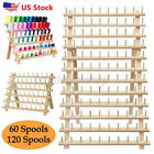 60120 Spool Wooden Sewing Thread Rack Stand Embroidery Cone Holder Organizer Us
