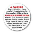 2 Astm Compliant Candle Warning Labels 24 To 500 Round Stickers Wax Melting