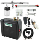 Ophir 12v Mini Airbrush Compressor Set Dual Action Airbrush Kit 3 Tips For Paint