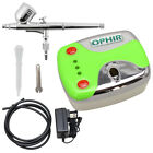 New Ophir Mini Pink Air Compressor 0.3mm Nozzle Airbrush Kit For Body Art Paint