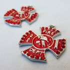 Fire Department Firefighter Emblem Red Silver Plated Charms C5671 - 1 2 Or 5pcs