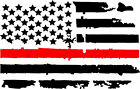 2 Us Thin Red Line Flag Vinyl Decals Fire Fighter Support Distressed American