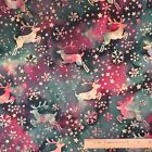 Cotton Quilt Sewing Fabric Christmas Reindeer Pine Cones Pine Trees Poinsettias