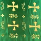 Metallic Clerical Church Cross Brocade Fabric 60 By Yard In Red Gold White Blue