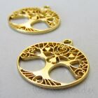 Tree Of Life 24mm Wholesale Gold Plated Enamel Charms C4591 - 2 5 Or 10pcs