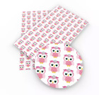 Light Pink Owl Printed Faux Leather Vinyl Fabric Sheets Diy Hair Bows Earrings