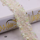 Vintage Nylon Gold Embroidered Lace Trim Ribbon Fabric Costume Sewing Crafts
