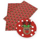 Red Rudolph Reindeer Christmas Faux Leather Sheet Fabric Full-12 Sheet