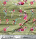 Soimoi Fabric Red Berries Floral Stripe Print Fabric By Yard - St-553a