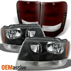 Fit 99-04 Jeep Grand Cherokee Black Headlights Dark Red Tail Lights Replacement