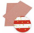 Red W Gold Polka Dot Stripe Faux Leather Fabric Sheet Full Or 12 Sheet