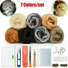 7color Natural Wool Needlefelting Top Roving Dyed Spinning Wet Felting Fiber Diy