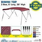 Bimini Top Boat Cover 3 Bow 6ft. Long 36 54 High Solution Dye Fabriccanvas