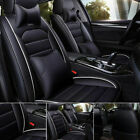 Us Luxury Car Seat Covers Top Pu Leather 5-seats Front Rear Universal Interior
