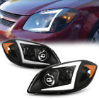 For 05-10 Chevy Cobalt Black Led Neon Tube Halo Drl Projector Headlight Lr Lamp