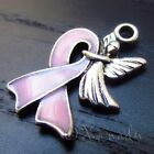 Pink Ribbon Breast Cancer Awareness Enamel Charm Pendants C5301 - 2 3 Or 5pcs