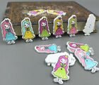 Wooden Girl Princess Buttons Fit Sewing Mixed-color Scrapbooking Craft 35mm