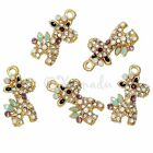 Giraffe Wholesale Gold Plated Rhinestone Enamel Charms C3184 - 2 5 Or 10pcs