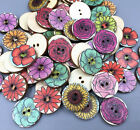 Vintage Flowers Mixed Wooded Buttons Sewing Scrapbooking Crafts 2-holes 20mm