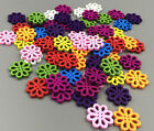50100 Pcs Random Mixed Flower Shape Wood Sewing Buttons 20mm Paste Decoration