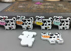 Cartoon Wooden Cows Shape Buttons 2-holes Sewing Crafts Scrapbooking 27mm