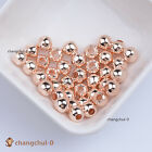 Rose Gold Smooth Round Spacer Loose Beads Jewelry Findings 3456810mm