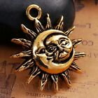 Sun And Moon Antiqued Gold Plated Charm Pendants C4673 - 2 5 Or 10pcs