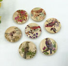 Wooden Buttons Fit Sewing Clothes Scrapbooking Flowers Birds Pattern 20mm